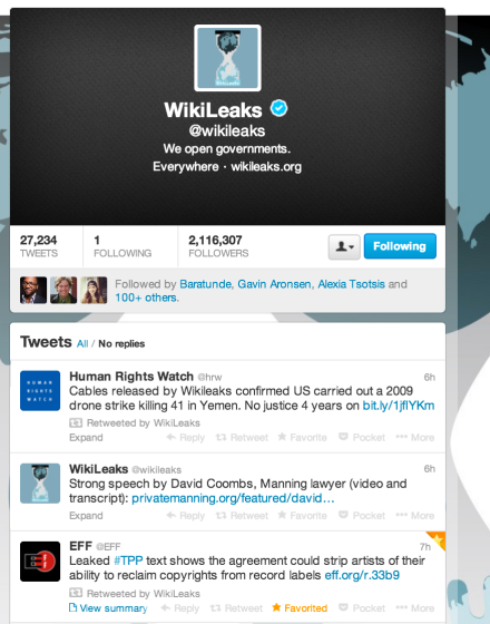 wikileaks retweet